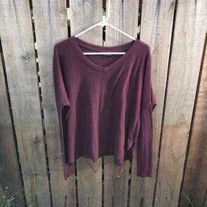 Brandy Melville Maroon Long-sleeve Shirt